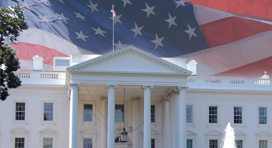 photo of White House and American flag
