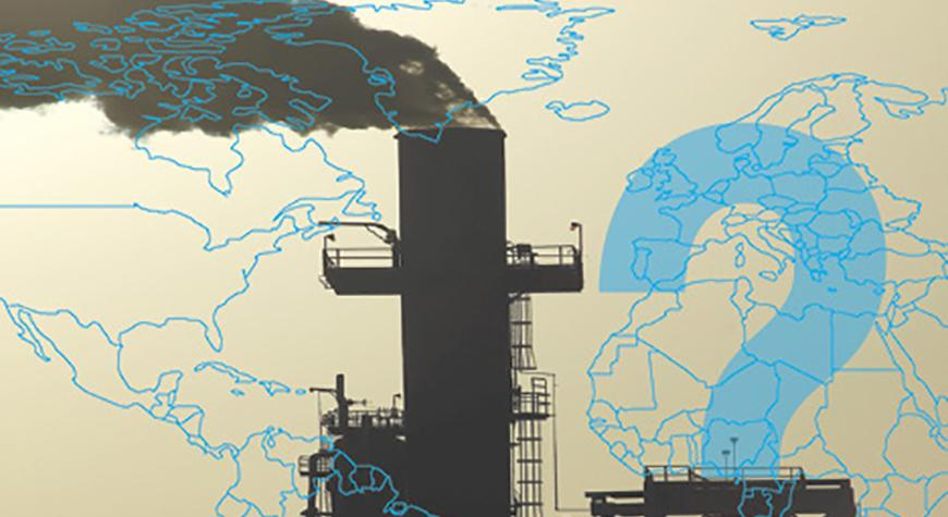 photo of a world map overlaid on an oil refinery smoke stack