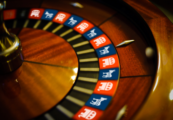 photo of roulette wheel with political party mascots